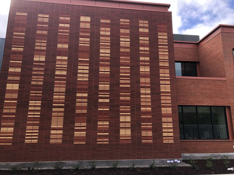 PHOTOS COURTESY: CCC - The brickwork on an exterior wall of DeJardin Hall replicates cougar (Clackamas Community College's mascot) DNA.