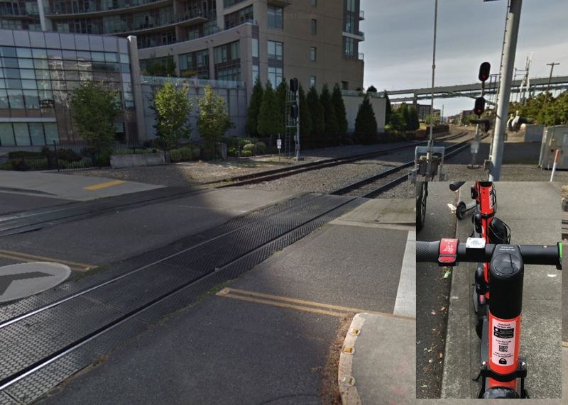 PHOTOS BY GOOGLE MAPS/PAMPLIN MEDIA - A Spin brand electric scooter is shown here alongside the approximate site of a Saturday crash that left a helmetless electric scooter rider in critical condition.