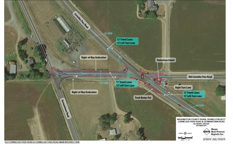 COURTESY MAP: WASHINGTON COUNTY - An overview map of what's being proposed at the intersection of Cornelius Pass and Old Cornelius Pass roads north of Hillsboro. (North is to the right on this map.)