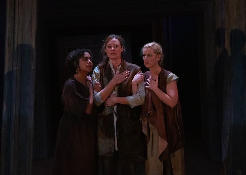 COURTESY PHOTO: KATE SZROM/PCS AT ARMORY - An all-female adaptation of 'Macbeth,' staging at The Armory, features (from left) Chantal DeGroat, Dana Green and Lauren Bloom Hanover.