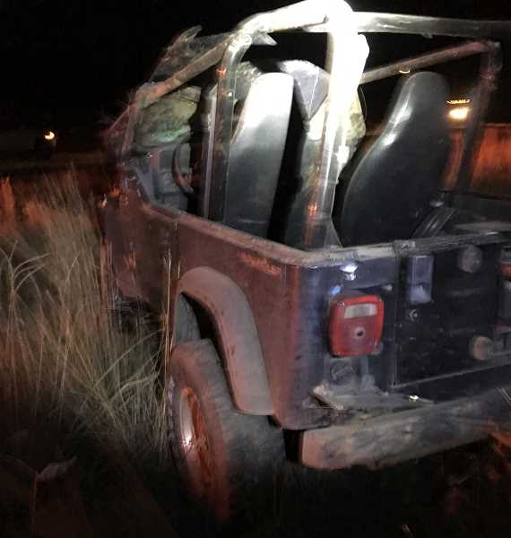 PHOTO COURTESY CROOK COUNTY SHERIFF'S OFFICE - Prineville men Eli Cromwell and Blake Murray were ejected from this Jeep Wrangler following a crash on Northwest Gerke Road late Monday night.