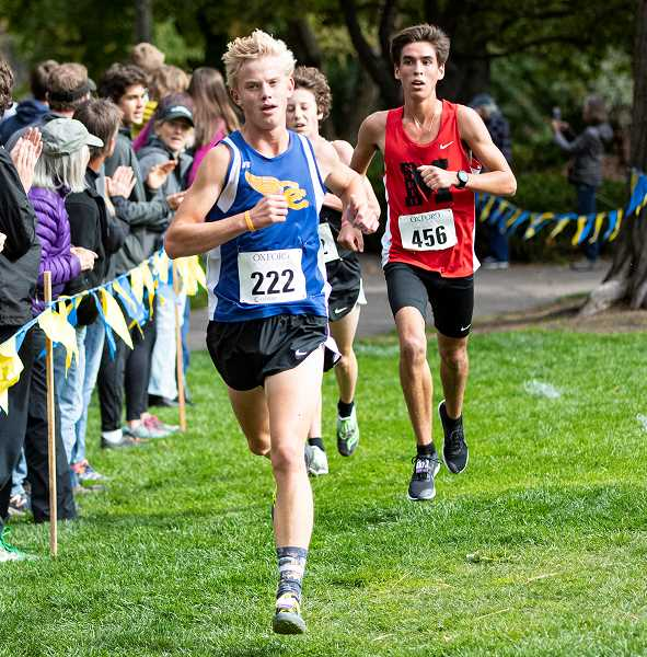 LON AUSTIN/CENTRAL OREGONIAN - Alec Carne nears the finish line. Carne finished 11th overall in the 18-team race.