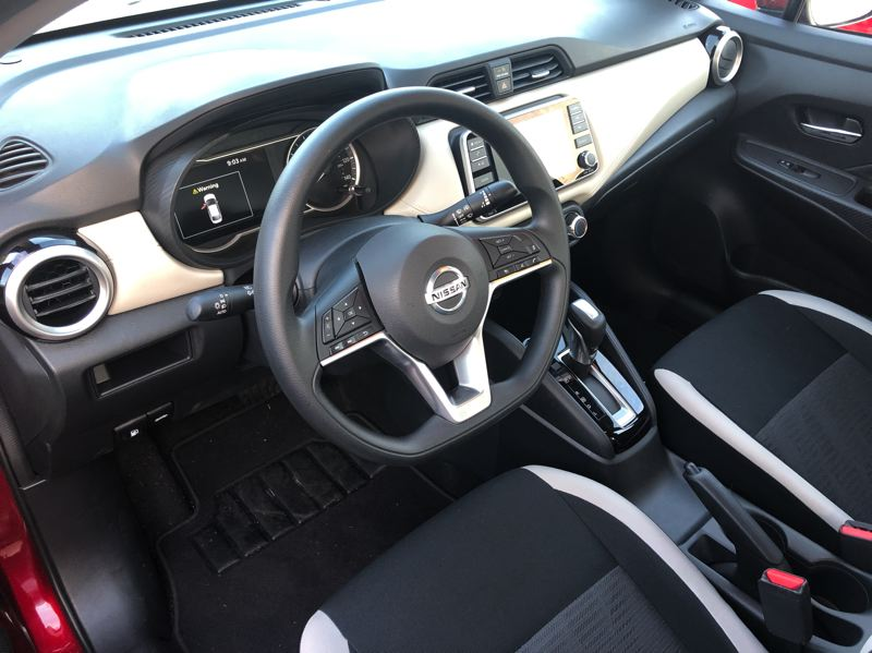 PMG PHOTO: JEFF ZURSCHMEIDE - The interior design of the 2020 Nissan Versa is clean and simple, and even the least expensive version is well equipped.