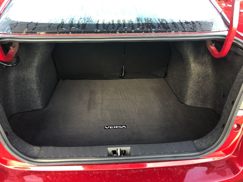 PMG PHOTO: JEFF ZURSCHMEIDE - The trunk in the subcompact 2020 Nissa Versa is surprisingly large.