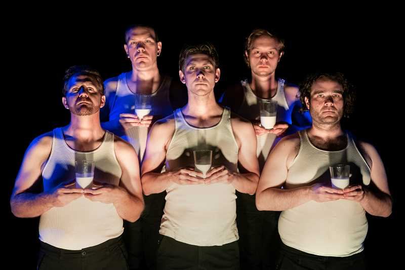 COURTESY PHOTO: CASEY CAMPBELL - Joey Copsey, TS McCormick, Andrew Beck, Robert Durante, and James Luster appear in the ensemble of A Clockwork Orange, opening Thursday, Oct. 10.