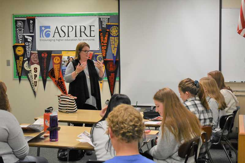 PMG PHOTO: EMILY LINDSTRAND - Through a presentation organized by the ASPIRE program, Estacada High School students connected with representatives from Willamette University last week.