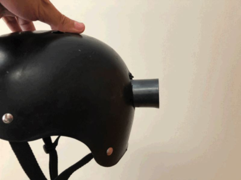 LAWSUIT PHOTO - Lawyers for Aaron Cantu say the impact from a PPB flash bang style weapon would have been fatal if not for Cantu's bike helmet.