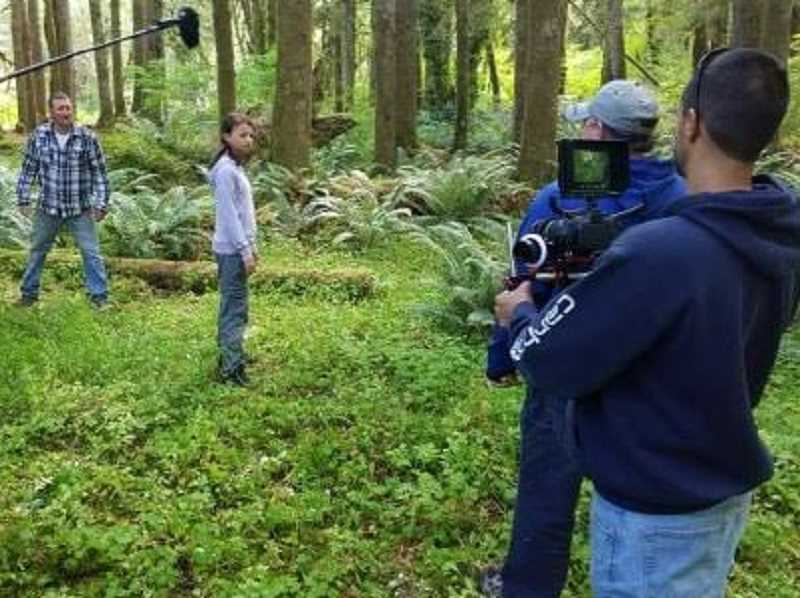 COURTESY PHOTO: ANDREW BROWN - Andrew Brown films a wooded scene for his movie, 'Confound.'