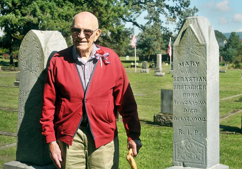 GRAPHIC CORRESPONDENT JANICE ALLEN - 100-year-old Elton Brutscher was the guest of honor at a celebration Saturday at Fernwood Cemetery in Newberg.