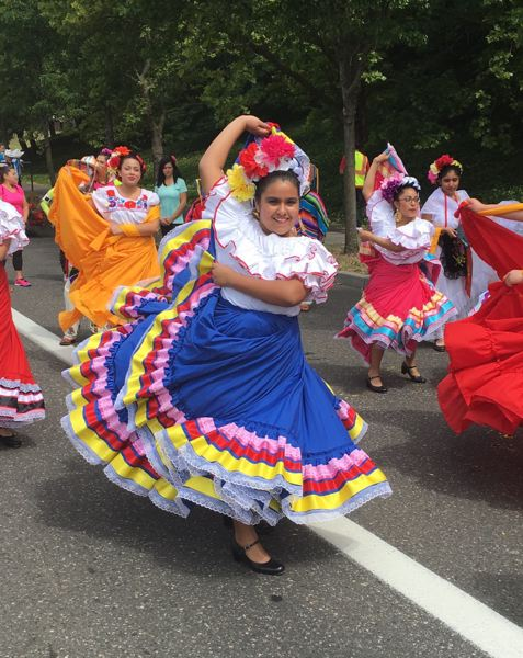 COURTESY PHOTO: GEMA HUIZAR RIOS  - Gema Huizar Rios, pictured here dancing in the 2016 Rose Festival Parade, says shes now glad her mother pushed her to join the Latino Networks dance troupe, Ballet Folklorico Corazones Alegres, in seventh grade. Now a high school senior, she says the experience has helped her gain confidence and a better appreciation for her familys ties to Mexico.