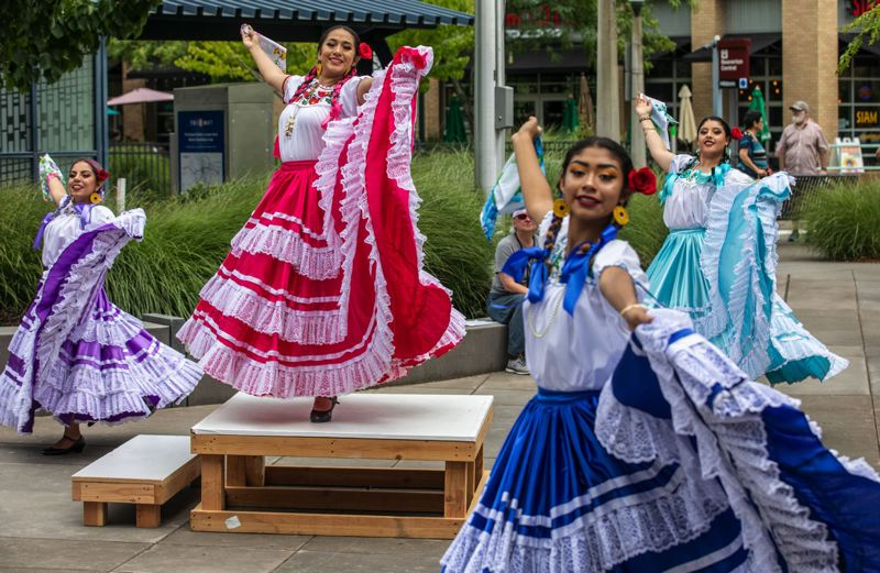 PMG PHOTO: JONATHAN HOUSE - In July, the Ballet Folklorico Academy performed Pinotepa Nacional, a dance representing the Oaxaca region of Mexico, during Beavertons annual Ten Tiny Dances event.