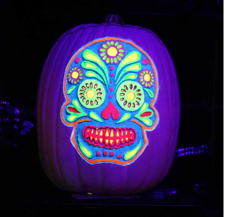 PMG PHOTO: HOLLY BARTHOLOMEW - A Dia de los Muertos-themed pumpkin is lit up in Rice's display.