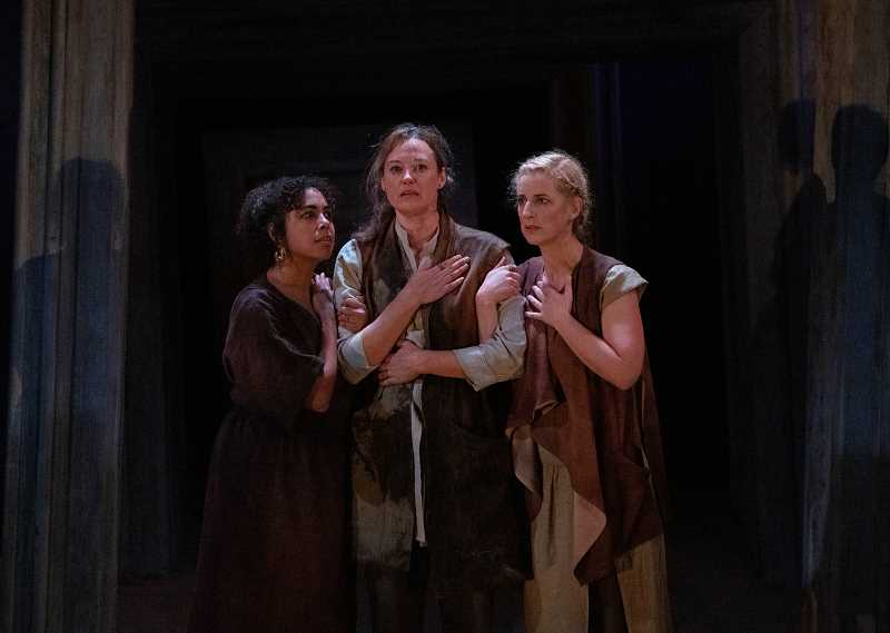 COURTESY PHOTO: KATE SZROM, COURTESY OF PORTLAND CENTER STAGE AT THE ARMORY - Chantal DeGroat, Dana Green and Lauren Bloom Hanover in Macbeth at The Armory.