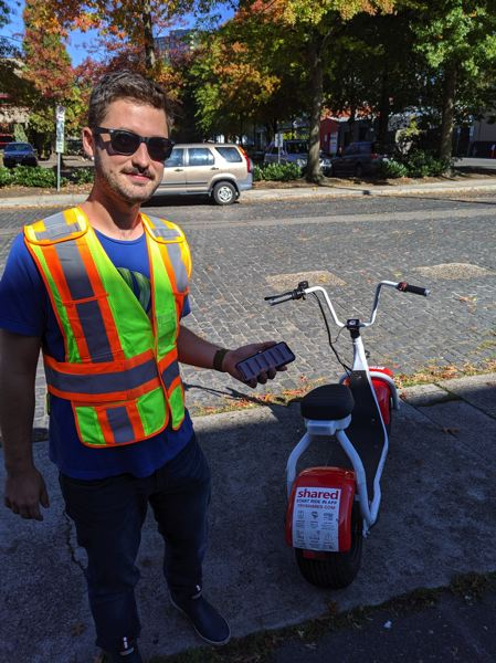 PAMPLIN MEDIA GROUP: JOSEPH GALLIVAN  - Owen Christofferson, 25, field operations manager at Shared, the new e-scooter company in town, helps run the team that swaps batteries and maintains the vehicles.