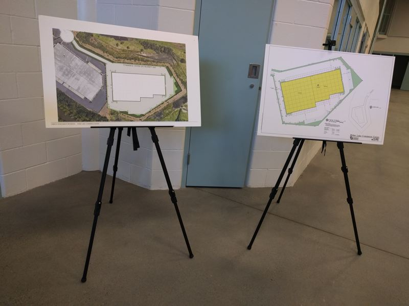 PMG PHOTO: JIM REDDEN - Plans for the Bybee Lake Commerce Center that would replace the Wapato Jail.