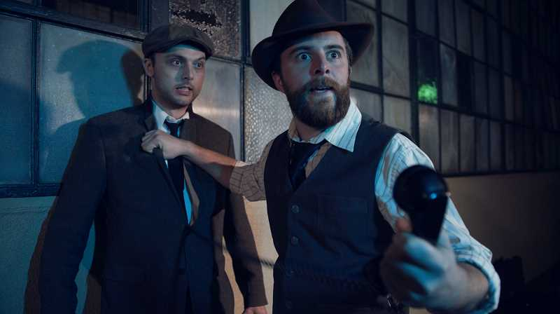 COURTESY PHOTO: SEAN PARKER - Actors Austin Hillebrecht (left) and Conor Eifler portray two mobsters who are arguing over which word is the 'Word on the Street' in this short by Sean Parker.