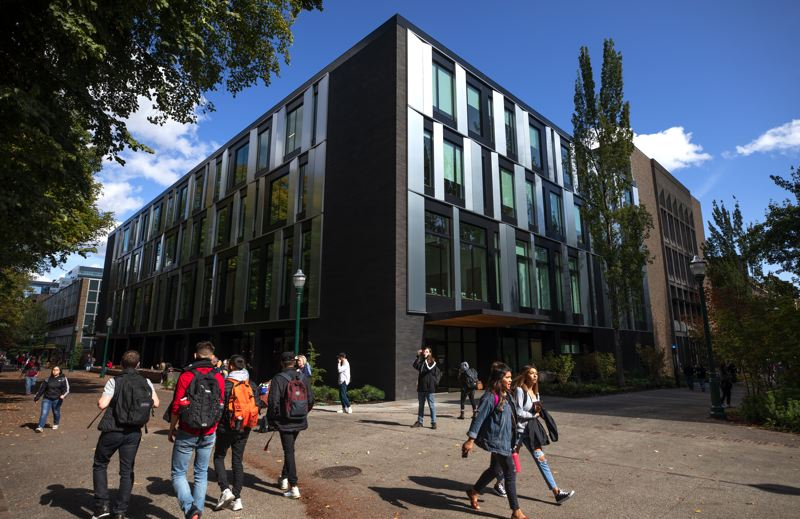 PMG PHOTO: JONATHAN HOUSE -  The nearly 20-month-long, $70-million renovation of Fariborz Maseeh Hall on Portland State University's downtown campus was completed in time for the first day of classes on Sept. 30.