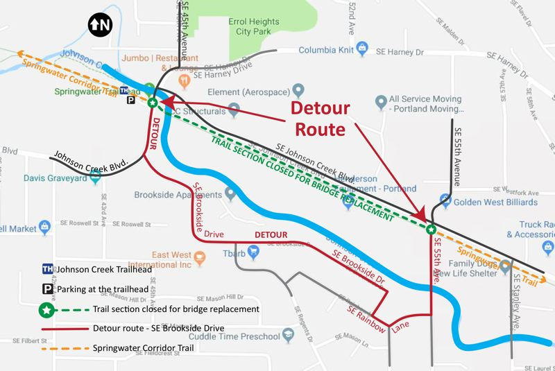 COURTESY MAP - Portland's closure of a section of the Springwater Trail between 45th and 55th avenues has detoured bike commuters through Milwaukie.