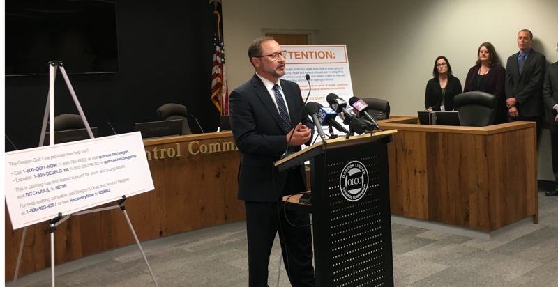 OREGON CAPITAL BUREAU: SAM STITES - OLCC Director Steve Marks addresses the media following the OLCC board's unanimous approval of temporary rules implementing a six month ban on all flavored vaping products as directed by Gov. Kate Brown's executive order.