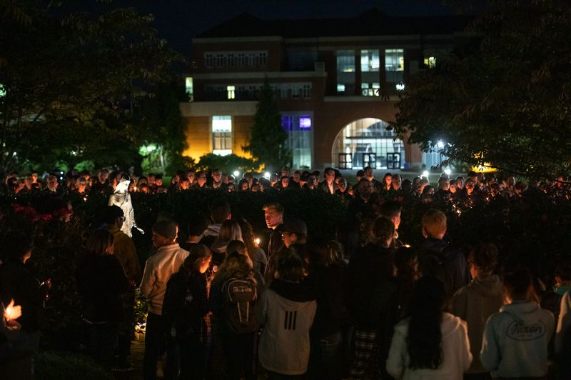 PMG PHOTO: JONATHAN HOUSE - Hundreds of well-wishers attended a candlelight vigil on the University of Portland campus Thursday evening for missing student Owen Klinger.