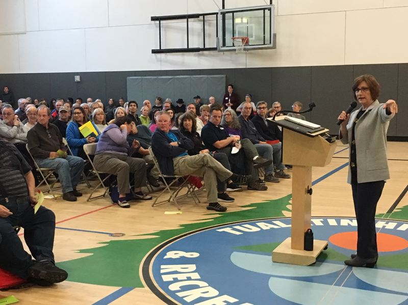 PMG PHOTO BY PETER WONG - U.S. Rep. Suzanne Bonamici, D-Ore., at a town hall meeting Thursday, Oct. 10, that drew 300 people to Conestoga Recreation and Aquatic Center in Beaverton.