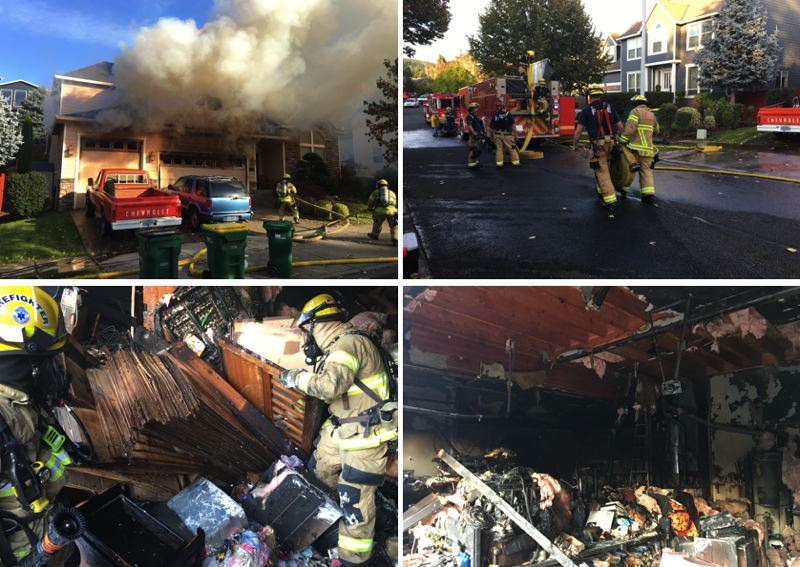 FGFD PHOTOS - Firefighters in Forest Grove responded to a home fire on Friday, Oct. 11. The collapsed shelf that injured two rescuers is shown at bottom left.
