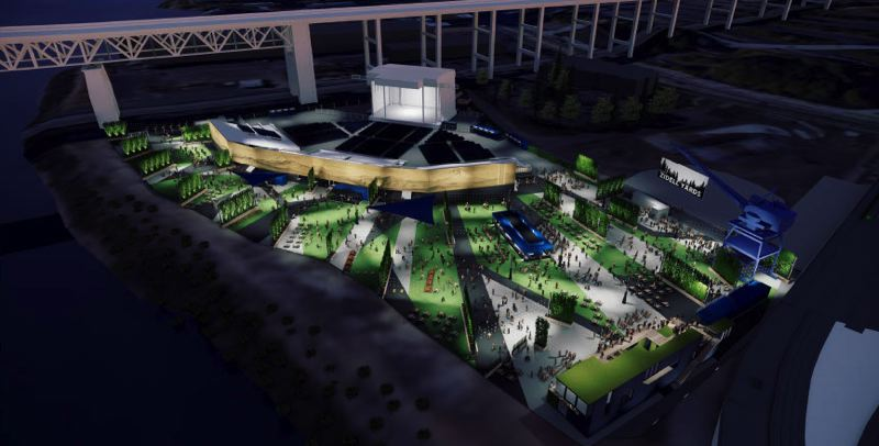 COURTESY: LIVE NATION/HACKER - Live Nation, a global entertainment promoter, has proposed locating a 10,000-person-occupancy temporary amphitheater on a portion of South Waterfront riverfront property owned by the Zidell family. The project was presented for design advice earlier this month.