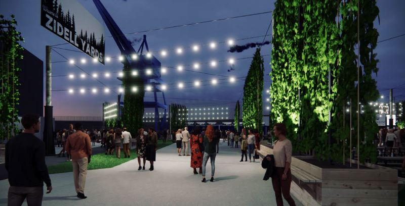 COURTESY: LIVE NATION/HACKER - Preliminary designs for the amphitheater venue include a pre-event area featuring 'walls' made from tubs filled with hops growing up and along rope trellises. Design commission members questioned whether the design was too reliant on seasonal landscaping.