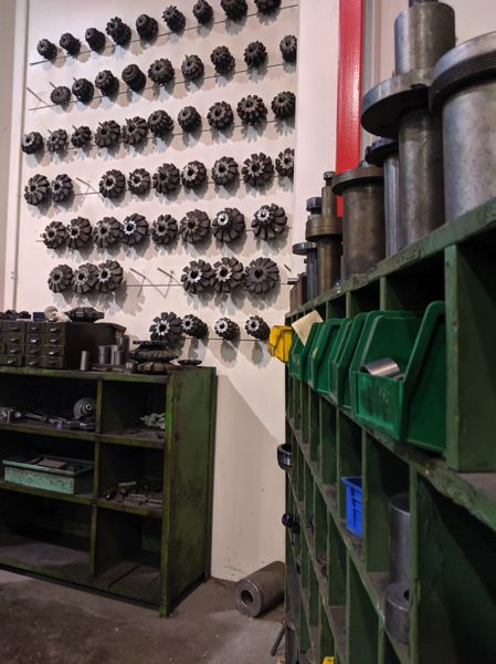 PAMPLIN MEDIA GROUP: CHRIS OERTELL - Parts at American Machine & Gear in Portland. This side of the building is where they make or fix all kinds of parts for gear boxes, some big enough for a steel mill or lumber mill.