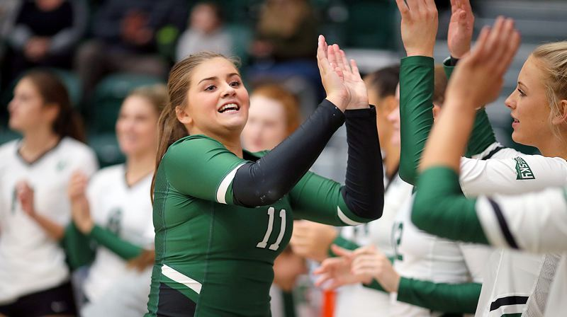 SCOTT LARSON, PORTLAND STATE UNIVERSITY - Ellie Snook, a 2019 West Linn High School graduate, has already found plenty of reasons to smile as a freshman libero at Portland State University, leading the nation's freshman in digs.