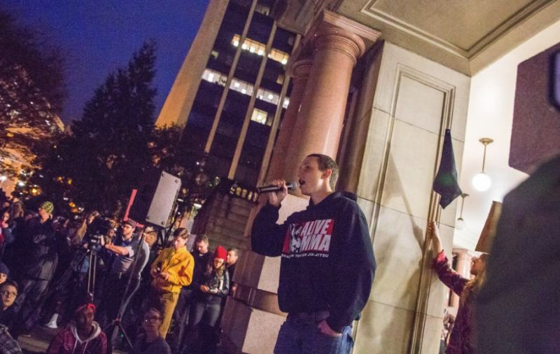 VIA OPB - Sean Kealiher speaks during a rally in November, 2016.