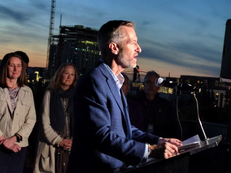 PMG PHOTO: JIM REDDEN - Mayor Ted Wheeler announcing for reelection Monday evening.