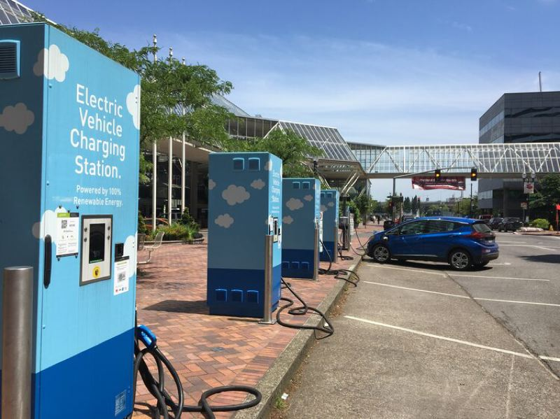 COURTESY PGE - Charging stations at the Electric Avenue near PGE's headquarters in downtown Portland.