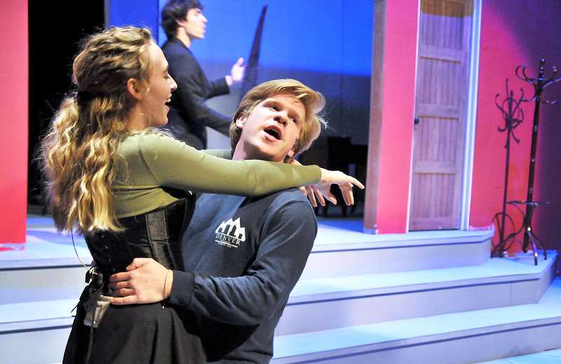 "GRAPHIC PHOTO: GARY ALLEN - 'Miss Barley,' portrayed by Molly Cox, and 'Asquith Jr.,' in a role comprised by Reid Arthur, share a dance during rehearsals for 'The Gentlemen's Guide to Love an Murder."" George Fox's fall musical debuts Thursday."