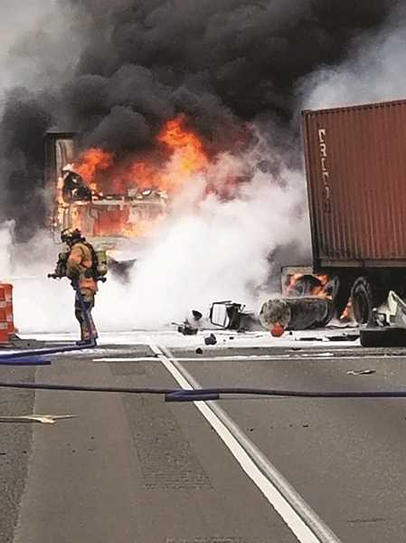 COURTESY PHOTO: OREGON STATE POLICE - The crash occurred when a southbound Semi-truck collided with another Semi that had already pulled to the side of the I-5 to investigate a fire.