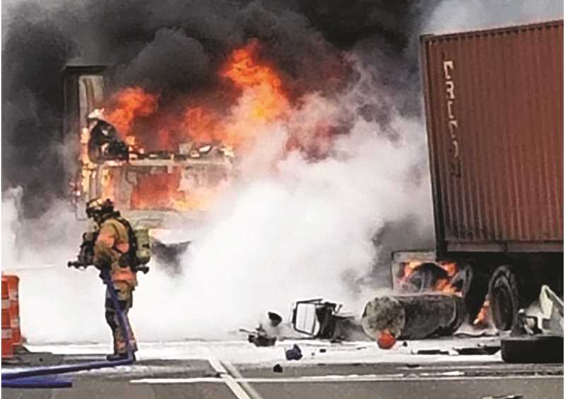 Truck crash, fire closes southbound I-5 for more than 12 hours