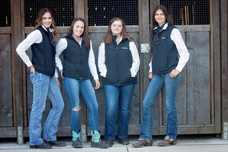 COURTESY OF KIMBERLY KNIGHT PHOTOGRAPHY - Kendall Shanklin, Jolie Lathrop, Kaydilayne Weikel and Carly Shanklin will fly to Kentucky next month for a national 4-H competition.