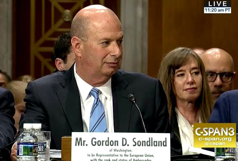 COURTESY PHOTO: C-SPAN - Gordon Sondland was confirmed as U.S. ambassador to the European Union in June 2018. This photo is from his confirmation hearing broadcast by C-SPAN.