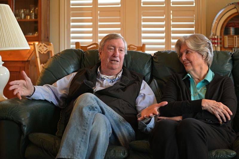 PMG PHOTO: CHRISTOPHER OERTELL - U.S. Air Force veteran Jim Morris discusses his experience as maintenance officer stationed at the Phan Rang Air Base in Vietman with his wife, Diane, at their home in Forest Grove on Oct. 9.