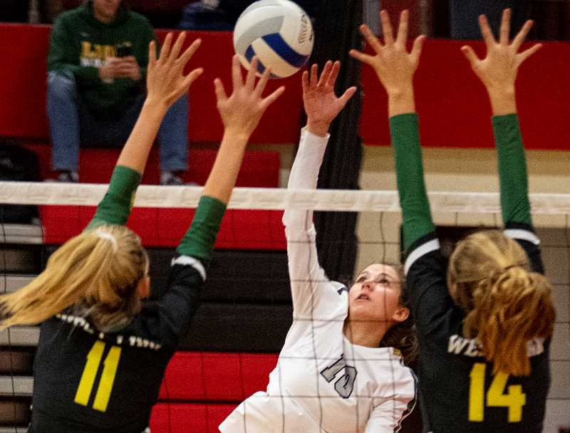 LON AUSTIN/CENTRAL OREGONIAN - McKinzie Jonas goes up for a kill last Saturday at the Clearwater Classic Volleyball Tournament. Jonas had nine kills on Tuesday as the Cowgirls defeated the Hood River Valley Eagles in straight sets to improve to 6-1 in Intermountain Conference play and 16-5 overall.