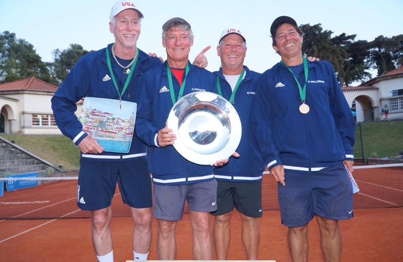COURTESY: IRVINGTON CLUB - Portland's Mike Tammen (far left) celebrates the U.S. victory in the Von Cramm Cup in Lisbon, Portugal.