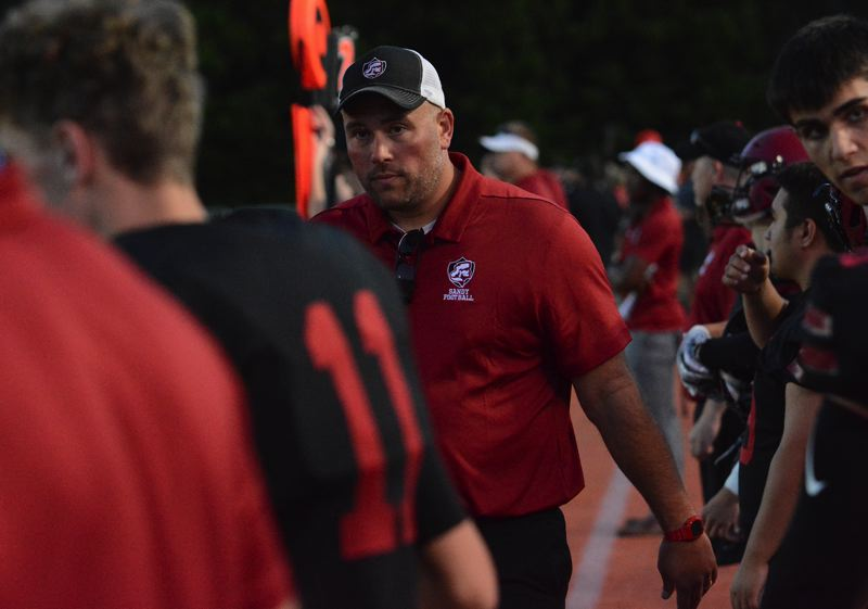 PMG PHOTO: DAVID BALL - Josh Dill started as football coach and PE teacher at Sandy High in September.