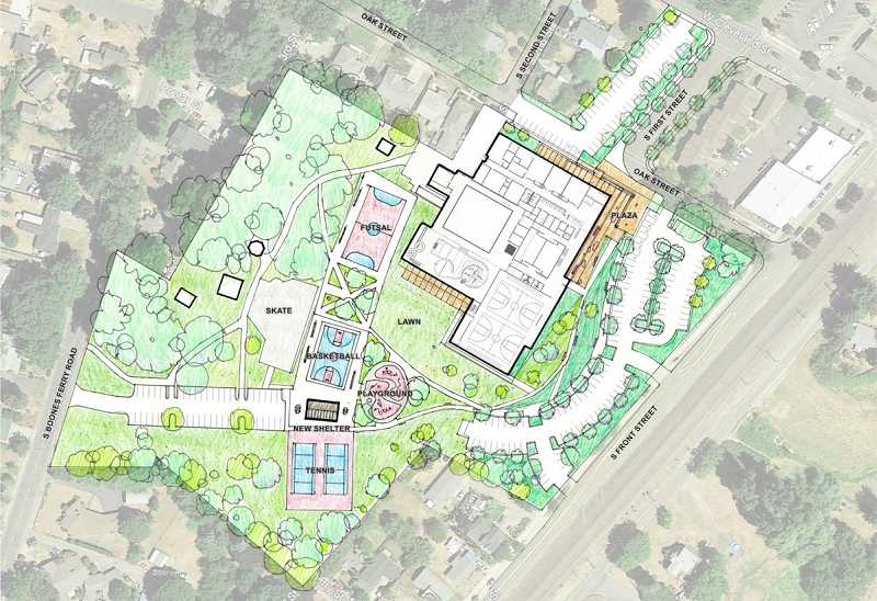 GRAPHIC COURTESY OF CITY OF WOODBURN - Proposals for a new Woodburn Community Center call for an integrated project that involve Settlemier Park, Woodburn Aquatic Center and the surrounding area.