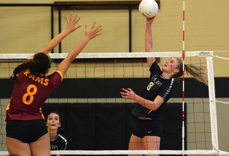 PMG PHOTO: DEREK WILEY - Canby outside hitter Daley McClellan hits the ball over the net Saturday against Central Catholic.
