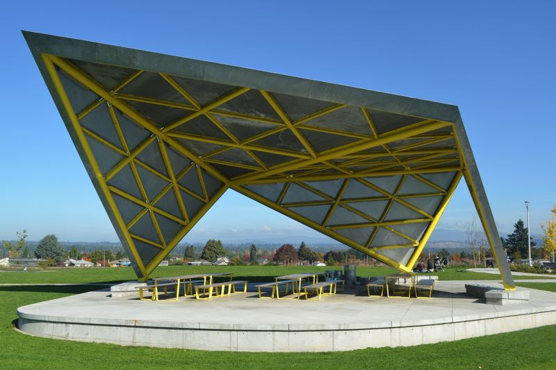 PMG PHOTO: BRIAN LIBBY - The eye-catching picnic shelter at Luuwit View Park does so much more than protect visitors from the elements.