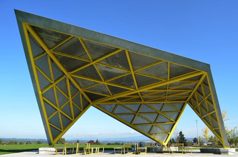 PMG PHOTO: BRIAN LIBBY - The picnic shelter at Luuwit View Park, designed by Skylab, who also did the Darth Vaderish YARD.