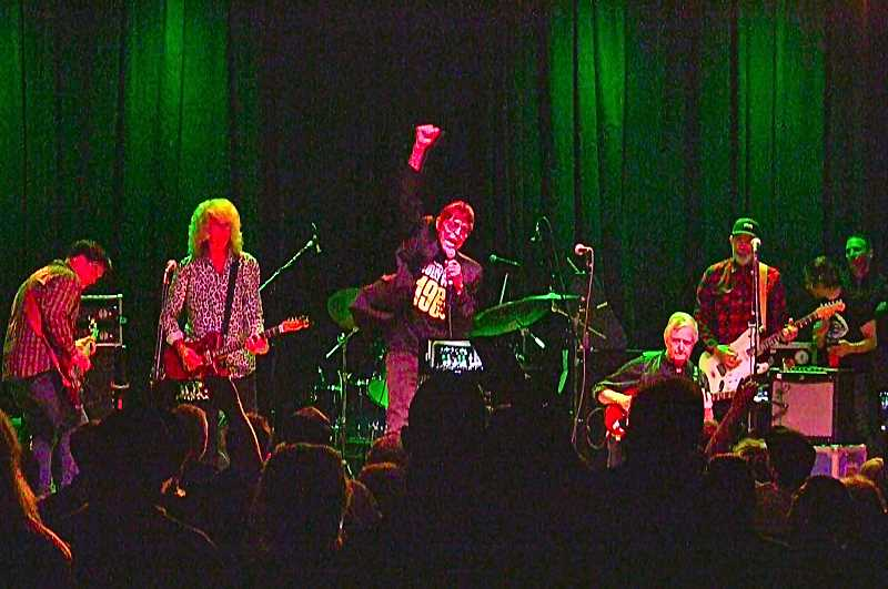 DAVID F. ASHTON - An award recipient this year, Mark Lindsay, center, led the band on stage (and the crowd) in an energetic performance of Louie Louie to climax the Oregon Music Hall of Fame show in the Brooklyn neighborhood this year.