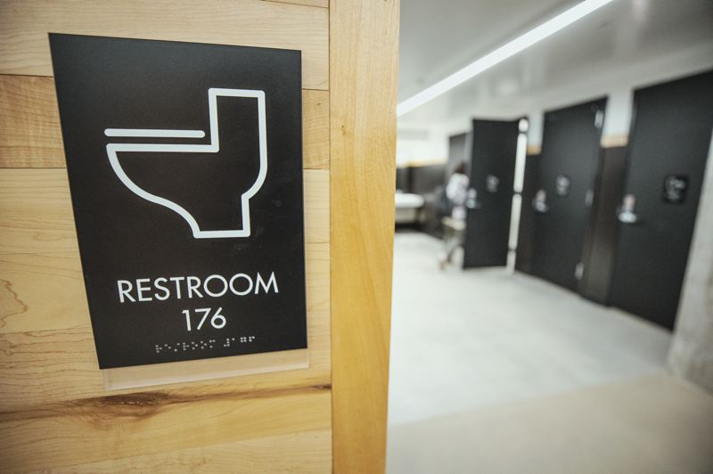 PMG PHOTO: JONATHAN HOUSE - The newly renovated all-user bathrooms at Grant High School.