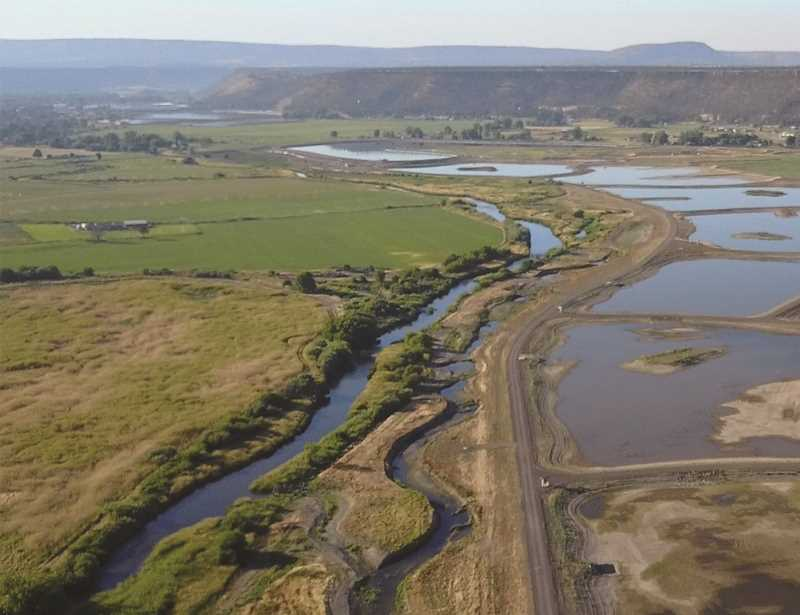 PHOTO COURTESY OF CITY OF PRINEVILLE - An aerial photo of the Crooked River Wetland Complex shows the results of the riparian work conducted along the adjacent Crooked River, action that has helped the municipality and irrigiation districts inch closer to completing a Habitat Conservation Plan.