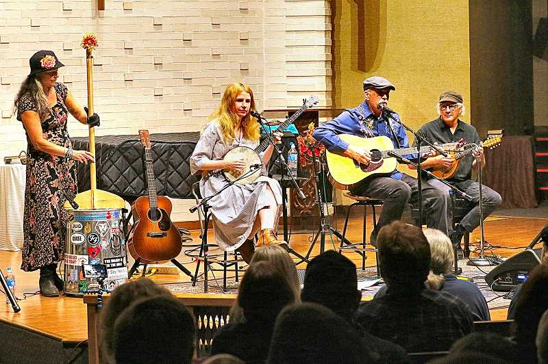 DAVID F. ASHTON - Giued Hatch playing trashcan bass, along with featured performers Meredith Axelrod and Jim Kweskin, were joined by Peter Spud Siegel on mandolin at the 2019-2020 Portland FolkMusic Society Concert series opener, in the Reed neighborhood.
